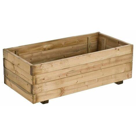 Jardinera rectangular de madera de pino