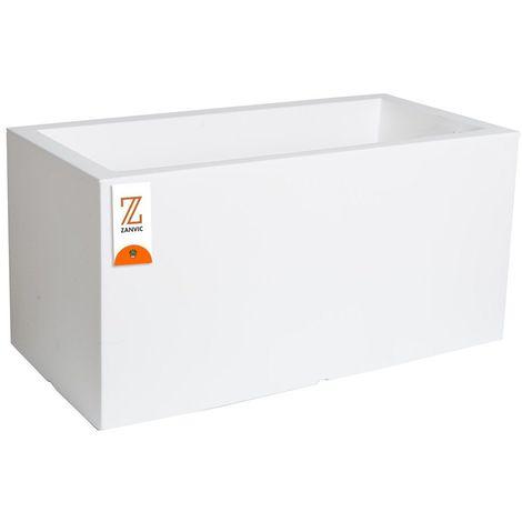 Jardinera rectangular de plastico medidas 80x40x40 color blanco