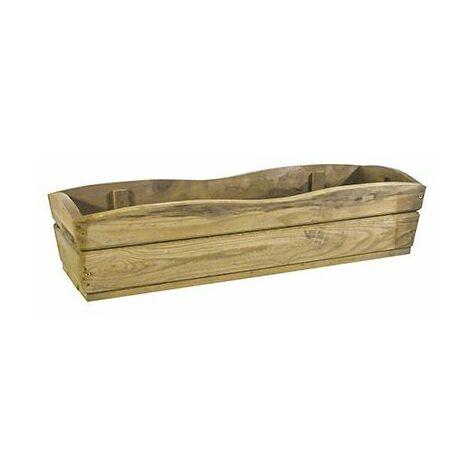 Jardinera trapecio rectangular curva 60 x 20 x 14,5 madera tratada