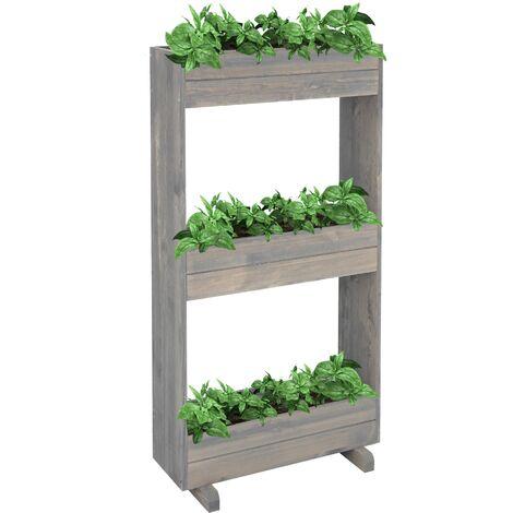Jardineras verticales de flores con 3 niveles estante madera gris WOMO-DESIGN®