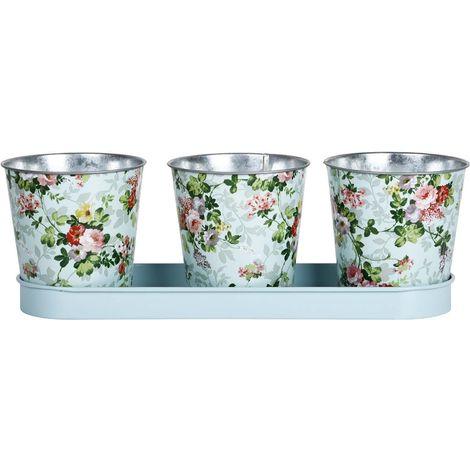Jardinière 3 pots Roses