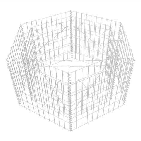 Jardinière à gabion hexagonale 100 x 90 x 50 cm