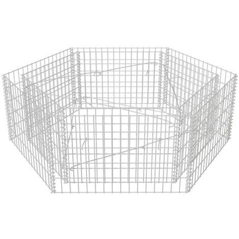 Jardinière à gabion hexagonale 160 x 140 x 50 cm