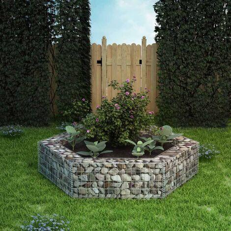 Jardinière à gabion hexagonale Mur en gabion 200 x 173 x 40 cm