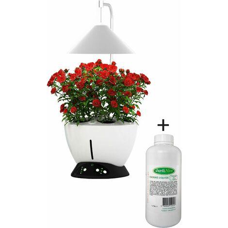 Jardinière avec lampe led intégrée Le potager avec engrais liquide + engrais 1000 ml - Blanc