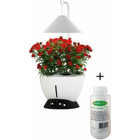 Jardinière avec lampe led intégrée Le potager avec engrais liquide + engrais 500 ml - Blanc