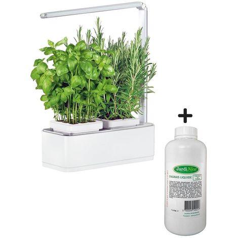 Jardinière avec lampe led intégrée Mini potager + engrais 1000 ml - Blanc