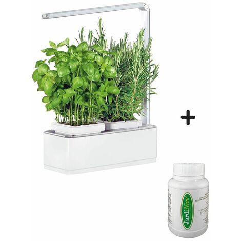 Jardinière avec lampe led intégrée Mini potager + engrais 250 ml - Blanc