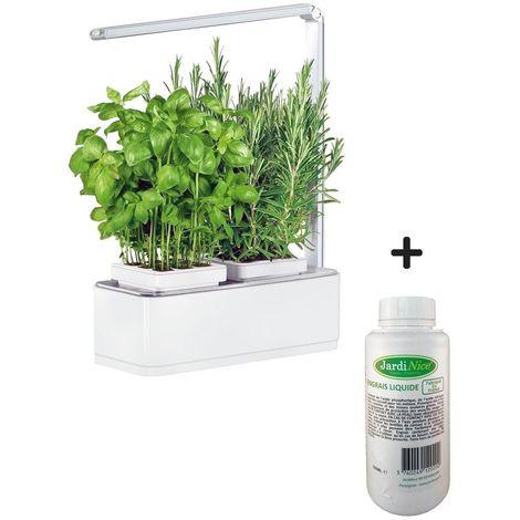Jardinière avec lampe led intégrée Mini potager + engrais 500 ml - Blanc