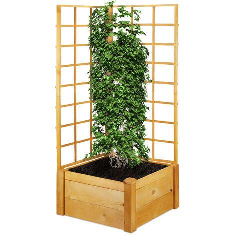 Jardinière avec treillis, bac à fleurs rectangulaire, tuteur, carré potager, HxLxP: 151 x 67 x 66 cm, nature