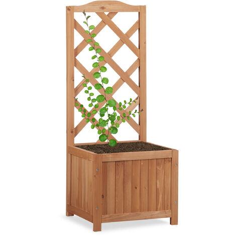 Jardinière avec treillis bac à fleurs treillage bois jardin pot plantes résistant 20 litres 90 cm, nature