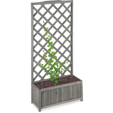 Jardinière avec treillis espalier Tuteur plantes grimpantes bac à fleurs bois vigne lierre 35L, 150cm, gris