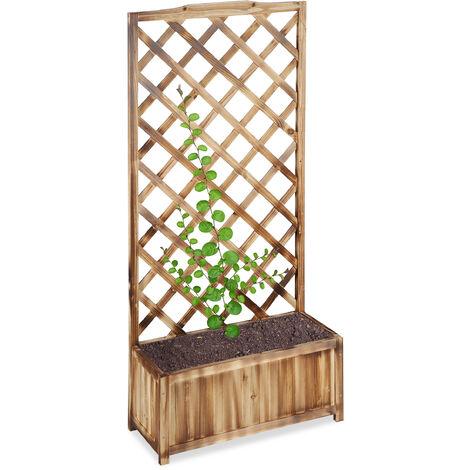Jardinière avec treillis espalier Tuteur plantes grimpantes bac à fleurs en bois vigne lierre rose 35L, 150 cm