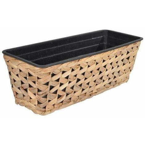Jardiniere cache-pot - Tressage zigzag - 48 x 18 x H 16 cm - Marron naturel
