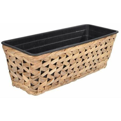 Jardiniere cache-pot - Tressage zigzag - 59 x 19 x H 16 cm - Marron naturel