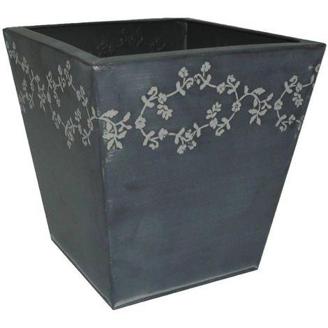 Jardinière carrée en zinc fleurie