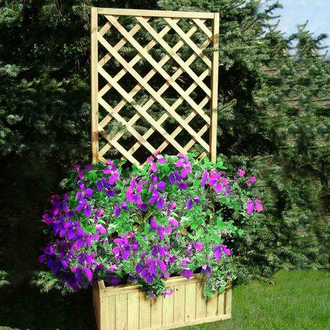 Jardinière en bois avec treillis grand modèle - Passiflore
