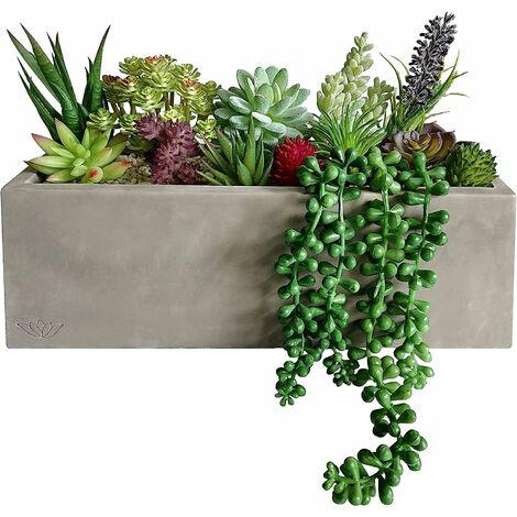 """main image of """"Jardinière en ciment préfabriquée avec 16 plantes succulentes artificielles pour la décoration de la maison, d'un centre de table, d'une fenêtre, d'un mariage"""""""