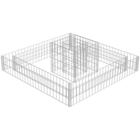 Jardinière en gabion Acier galvanisé 120x120x20 cm
