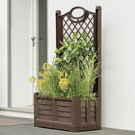 Jardinière en PVC 120 L avec treillis panneau espalier couleur gris h150 cm
