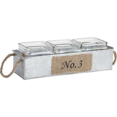 Jardinière en zinc avec pots en verre 34,5 cm
