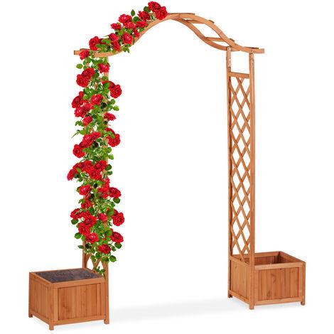 Jardinière pergola, Bac fleurs, Treillis plante grimpante bois 2 bacs à fleurs, 209 x 181 x 60 cm, orange