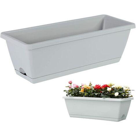 Jardinière pour palettes, palettes, jardinières, pots de fleurs en Europe, pot de fleurs avec soucoupe, jardinière de balcon avec ouvertures pour l'eau, jardinière en plastique (gris)