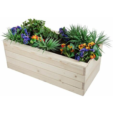 Jardinière Rectangulaire en Bois pour Légumes Poterie Extérieur Herbe Jardin - Brown