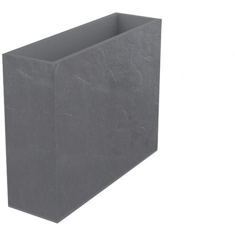 Jardinière rectangulaire Volcania effet pierre 63 L Gris galet - Eda
