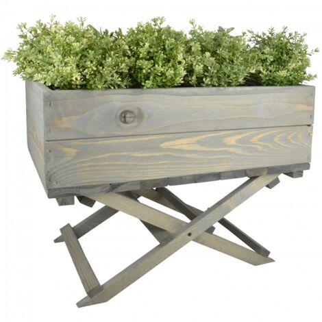 Jardinière sur pied pliable - L 38 x l 58 x H 45,5 cm - Gris - Livraison gratuite