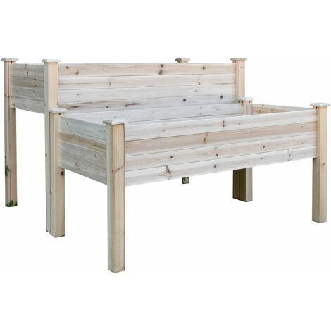 Jardinière sur pieds carré potager 2 étages dim. 115L x 114l x 76H cm inserts d'irrigation bois sapin naturel