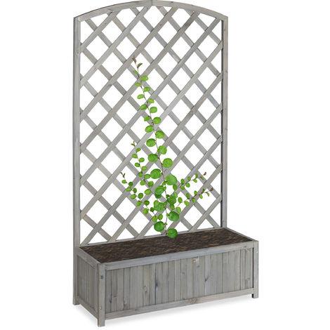 Jardinière treillis espalier Tuteur bac à fleurs bois vigne lierre HxlxP 153 x 90 x 35,5 cm, gris