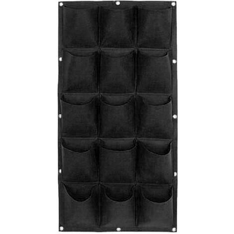 Jardinière verticale de sac de pot de plante de jardin de mur suspendu de verdissement de 9 poches Noir - Noir