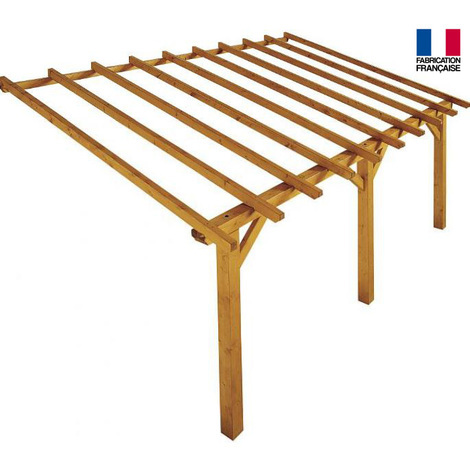 Jardipolys - Auvent en bois 1 pan 15 m2 - PRADO