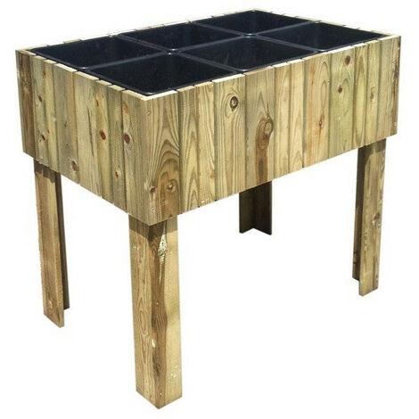 Jardipolys - Carré potager sur pieds en bois traité avec bacs plastiques - VERTIKAL surélevé