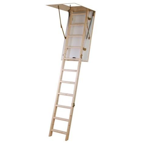 Jardipolys - Escalier escamotable bois avec caisson haut. 280cm 12 marches - ISOMAX