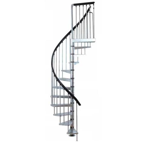 Jardipolys - Escalier helicoïdal 11+1 marches ø 125cm trémie acier galvanisé - INDUSTRIA