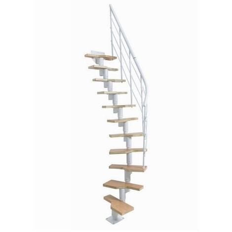 Jardipolys - Escalier ossature articulée à pas alternés 11 marches hêtre verni + acier thermolaqué blanc - LUGANO