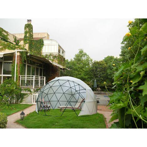 JARDTEC Polyvalent Serre de jardin Cottage de jardin pour les espaces de vie de dôme géodésique extérieur de quatre saisons avec couvercle en PVC Kit de dôme géodésique en mailles pour abri de jardin, aire de jeux ,serre de loisirs - 3.6*2.2M - Comme l'i