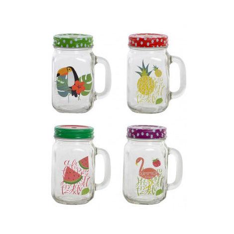 Jarra/Vaso para Bebidas con Asa 500ML en Set de 4, Frutal y Veraniego. Tapa de Rosca con abertura para Pajita 10,5X7,5X13 cm