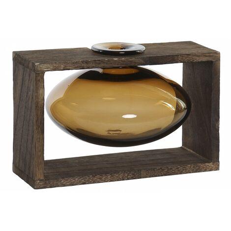 Jarrón de Interior Decorativo de Cristal, Soporte de Madera para Mesa. Diseño Colonial/Moderno 22X16X15 cm.