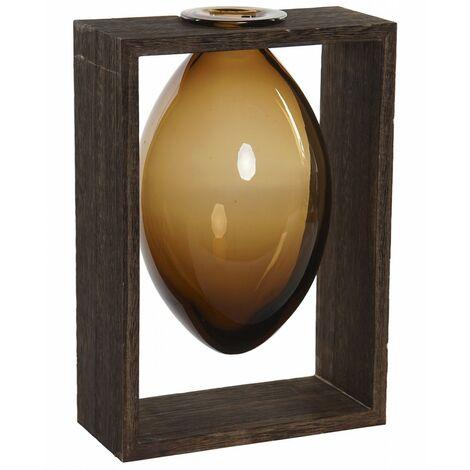 Jarrón Interior Decorativo de Cristal, Soporte de Madera para Mesa. Diseño Colonial/Moderno 17,5x12x26 cm.- Hogar y Más
