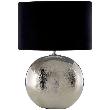 Jarvis Table Lamp, Scratched Silver Ceramic, Black Shade