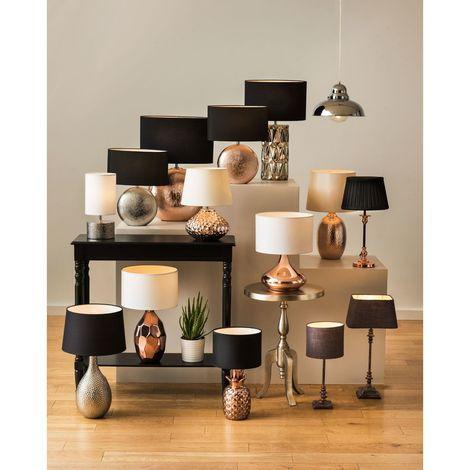 Jasmin Table Lamp, Silver Ceramic, Black Shade
