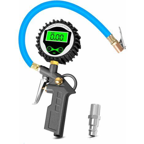 Jauge de Pression de Pneu Numérique avec Rétroéclairage LCD Écran, 255 PSI Numérique Manomètre Pneu Pistolet Gonflage de Pneu pour Voiture Moto Vélo