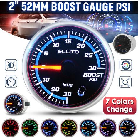 Jauge LED universelle de voiture universelle de 2 pouces 52mm - Barre de jauge Turbo Boost / PSI / Température de l'eau-Celsius / Fahrenheit / Barre de pression d'huile / PSI / Température d'huile - Celsius / Fahrenheit / Volt / Température de transfert L