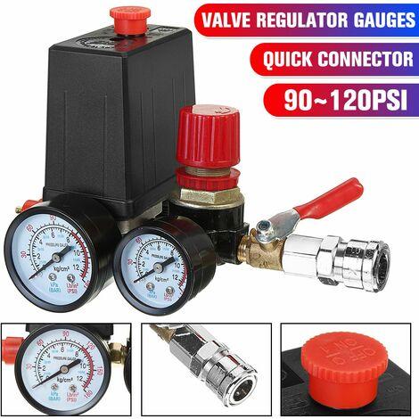 Jauges de régulateur de collecteur de soupape de commande de commutateur de pression de compresseur d'air 90-120PSI