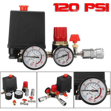 Jauges de régulateur de collecteur de soupape de commande de commutateur de pression de compresseur d'air de 90 ~ 120 PSI PSI avec connecteur rapide