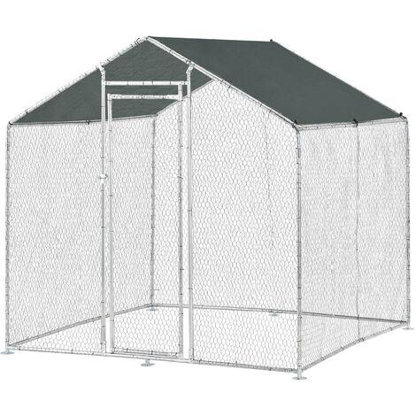 Jaula al aire libre - 2 x 2 x 2 m - Voladero para aves - Jaula Gallinero de Exterior con Tejado - Casa de animales pequeños - Color plata y verde oscuro