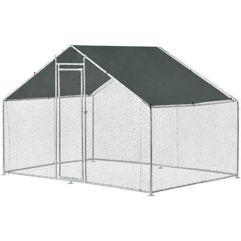 Jaula al aire libre - 3 x 2 x 2 m - Voladero para aves - Jaula Gallinero de Exterior con Tejado - Casa de animales pequeños - Color plata y verde oscuro